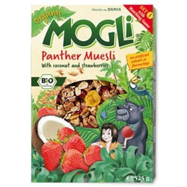Mogli 有机零食 椰子片 草莓片 Organic Panther Muesli With Coconut And Strawberries 325g
