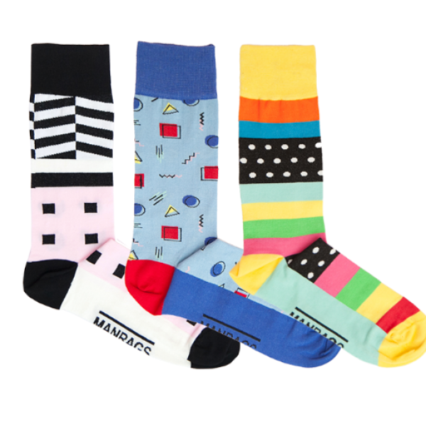 MANRAGS Lucky box contains 3 unique socks 澳洲品牌 埃及制造